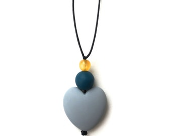 Breastfeeding Necklace - Nursing Necklace - Nursing Beads - Aphrodite Resin Heart - Grey, Teal, Yellow