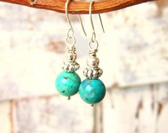 Blue Turquoise Earrings. Genuine Turquoise Dangle Earrings. Turquoise Drop Earrings. Silver & Natural Turquoise Jewelry
