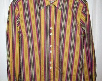 Vintage 80s Ladies Yellow Purple Pink Green Striped Shirt by Jamaica Bay XL Only 8 USD