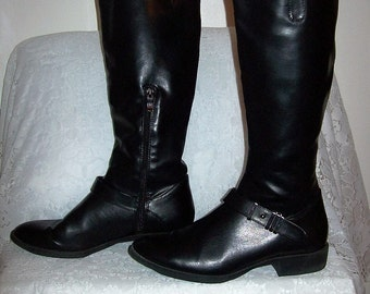 Vintage 90s Ladies Black Equestrian Style Dress Boots by Sam & Libby Size 10 Only 18 USD