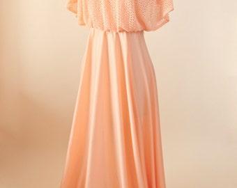 Vintage Bohemian Knit Butterfly Topped V Neckline Peach Maxi Dress