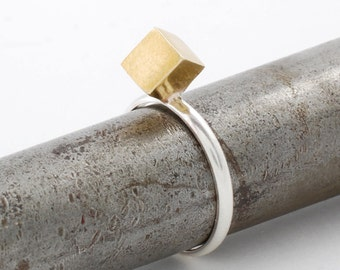 Gold Cube Ring, Sterling Silver Ring, Stack Ring, Minimalist Ring, Silver Ring For Woman, RSB012