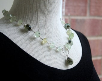 Prehnite necklace, gemstone necklace, sterling silver and prehnite necklace, wire wrapped, prehnite, statement necklace