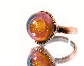 Aeos - Copper Ring, Murano Glass Ring, Electroformed Ring, Rings for Women, Unique Ring, Antique Ring, Adjustable Ring, for Her
