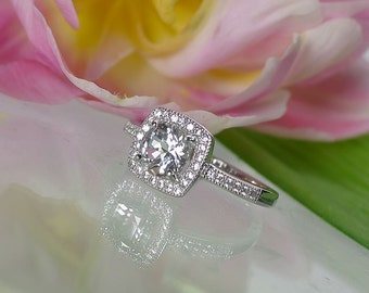 White Topaz, White Topaz Ring, Sterling Silver, White Topaz Halo Ring, Micro Pave