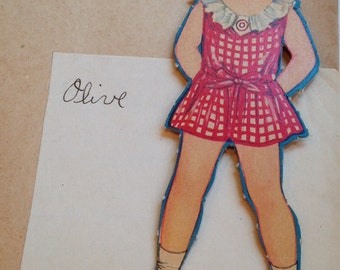 Vintage Olive Paper Doll With 4 Outfits
