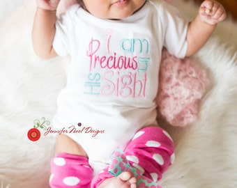 Newborn Girl Take home outfit, Baby Girl OnePiece Coming Home Outfit, Precious in His Sight, Baby Shower Gift, First Photo Outfit, pink aqua