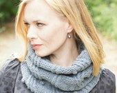 Hand knit chunky women cowl autumn trends rustic woodland gray OOAK