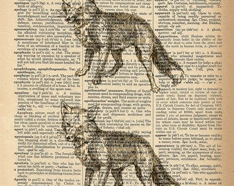 Dictionary Art Print - Fox Pair - Upcycled Vintage Dictionary Page Poster Print - Size 8x10