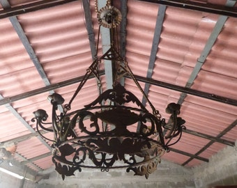 Antique 1800s French iron chandelier lighting fixture ceiling light LARGE gothic Castle home decor light lamp w flowers, dragons, chimera