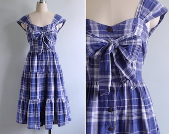 10 to 25% OFF (See Shop) Vintage 80's 'Little Bow Peep' Blue Plaid Cotton Dress S or M