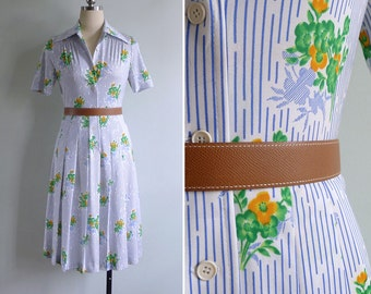 Vintage 80's Jonathan Logan Flower Bouquets Op Art Shirt Dress S or M