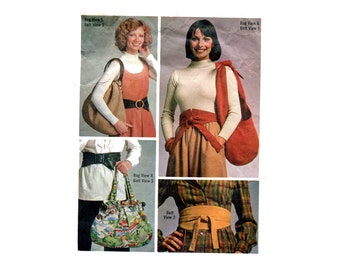 1970s Boho Hobo Bags and Belts Pattern Shoulder Purses Obi Wrap Belts Accessories Simplicity 7018 Vintage Sewing Pattern