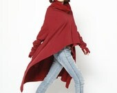 Wine Red High Collar Asymmetric Sweatshirt Cotton Fleece Extra Long Sleeves Top - Custom made - NC622