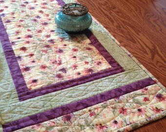 Quilted Table Runner - Wildflowers Flowers Table Runner