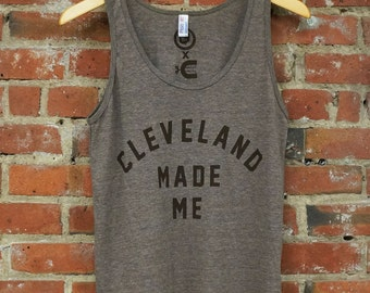 American Apparel SUPER SOFT Vintage Feel Unisex Tri-Blend Tank - 'Cleveland Made Me' on Coffee Brown