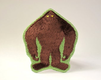 Bigfoot Silhouette Embroidered Patch (Velcro hook & loop available)