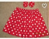 Custom made minnie mouse red white polka dot skirt hair bow any size