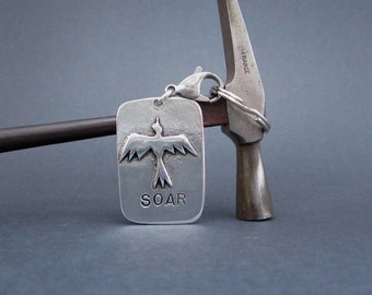 Pewter Key Chain with Bird Soaring