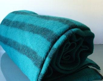 Vintage MacAusland's Woollen Mills Jade Green Blanket