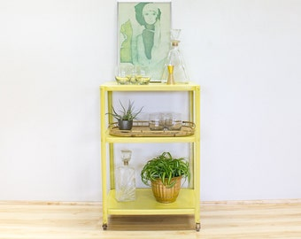 Mid Century Bar Cart, Yellow Metal Industrial Design, Vintage Barware