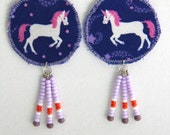 Purple unicorn earrings, pink unicorns, unicorn dangle earrings, fantasy creature accessories, unicorn gift, white unicorn