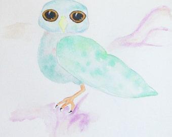 Dream Owlet - OOAK Watercolor Spirit Animal