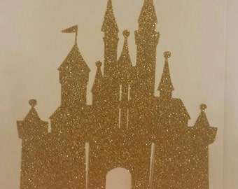 Princess Castle Glitter cake topper Lots of color choices Pink Gold 1st Birthday