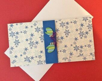 Money/Gift/Check Card, Snowflakes, Blue, Mittens, Blue Band, Blue Inside, Handmade, Embellishment, Thread