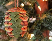 Autumn Pine Cone Ornament Folded Ribbon Country Christmas Bauble Unique Handmade Holiday Tree Decoration Orange Plaid Green Gift