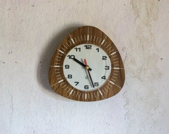 Laminate Wall Clock // 1960 French Working Electronic Clock