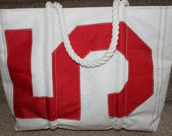 recycled red number sail bag