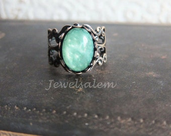 Mint Ring, Mint Green Ring, Green Ring, Boho Indie Exotic Pewter Vintage Inspired, Gift, Friendship Ring, Jewelsalem  T1