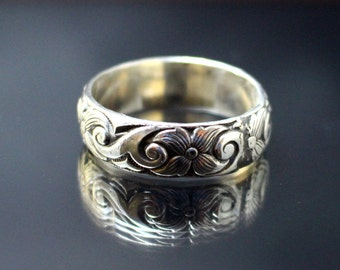 Silver Flower Band Floral and Swirl Wedding Ring Garden Sterling Silver Floral and Swirl Patterned Wedding Band Ring