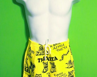 Vintage 80s Mens Retro Cat Print Novelty Beach Shorts Summer Swim Trunks Hipster Unisex