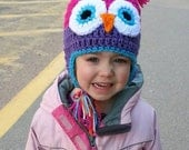 Girls Owl Hat Pink and Purple