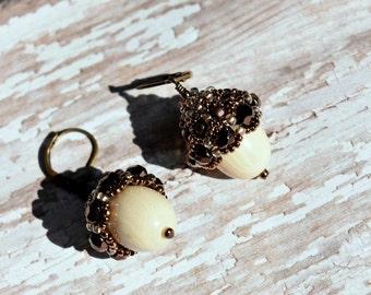 Acorn Earrings, Seed Bead Acorn Earrings, Fall Earrings, Autumn Earrings, Seed Bead Earrings, Brown Earrings, Acorn Jewelry, Fall Jewelry