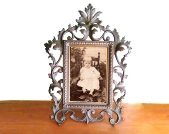 Antique Cast Iron and Bronze French Fancywork Picture Frame