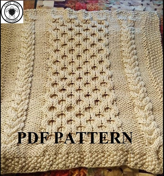 Knit Afghan Patterns Using Bulky Yarn : Knit Baby Blanket Pattern Knitting Pattern Cable Knit Aran