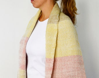 Chunky Blanket Scarf, Christmas gift for her, Boho winter blanket scarf, Woven wool wrap striped, Gift for her birthday