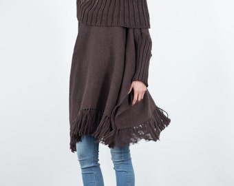 Cape poncho Knit Hood Collar, Plus size wool cape coat, Turtleneck sweater wrap, Oversized Tunic Coffee Outerwear Fringe Kimono