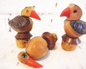 Vintage cork bottle stoppers puffin birds nuts wonderful strange shabby