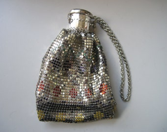 Vintage Silver Mesh with Colored Design Accordian Purse/Beggar's Bag from Seoul, Korea 1940's