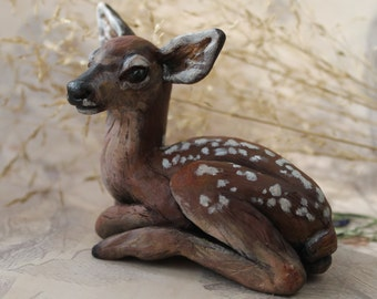 Fawn MADE to ORDER Ooak polymer clay sculpture Baby deer art doll Miniature cute animal figurine Handmade figure Totem Bambi Xmas gift