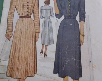 Vintage 40's McCalls #7054 Sewing Pattern Women's Dress Shirt Dress Button Bodice Bust 40""