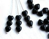 Black Hearts, jet black glass beads, Czech glass, love, tiny hearts, heart beads - 6mm - 25pc - 2382