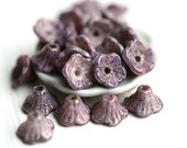 25pc Purple Flower Caps, czech glass beads, purple beads with luster, bell flower beads, 7x5mm - 1281