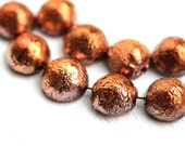 Dome beads, Red gold chunky beads, czech glass beads, copper beads, round, half sphere, 12x7mm - 10pc - 2415