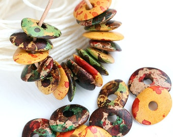Bright Beads mix - Fall Colors - Red, Yellow, Brown, Green, greek Ceramic Cornflake beads, for leather cord, washer, 16mm - 12pc - 2766