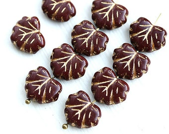 Maroon Maple leaves, Czech glass leaf beads - Brown red, golden inlays, pressed beads - 11x13mm - 10Pc - 1136